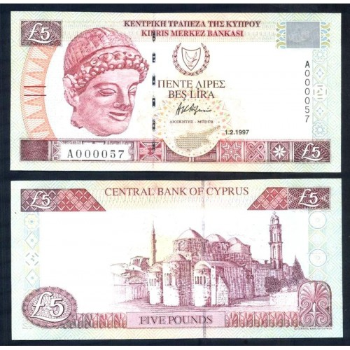 CYPRUS 5 Pounds 1997 Low...