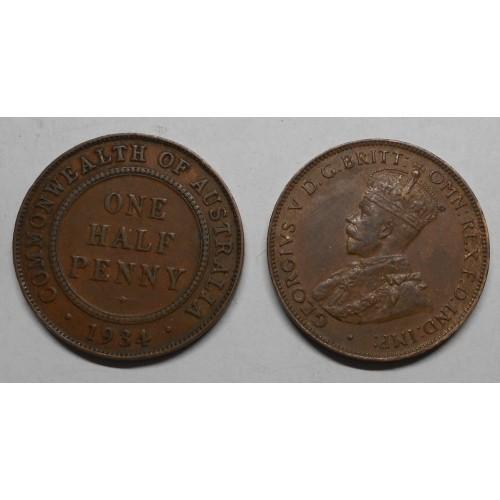 AUSTRALIA 1/2 Penny 1934
