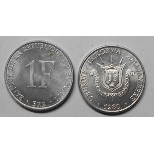 BURUNDI 1 Franc 1980