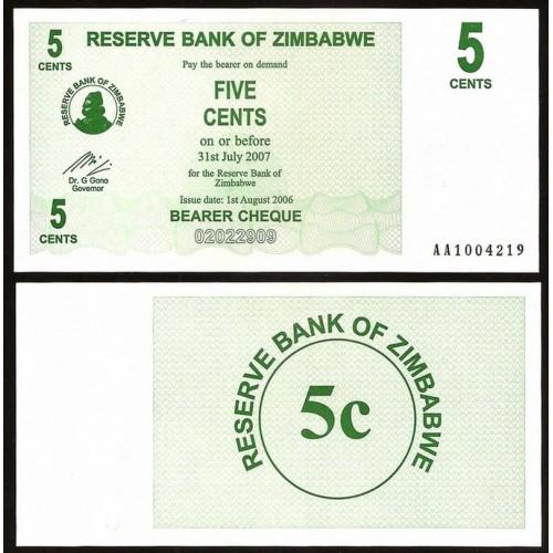ZIMBABWE 5 Cents 2006