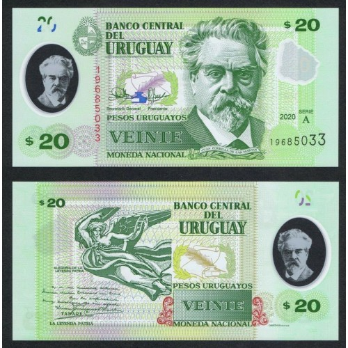 URUGUAY 20 Pesos 2020 Polymer