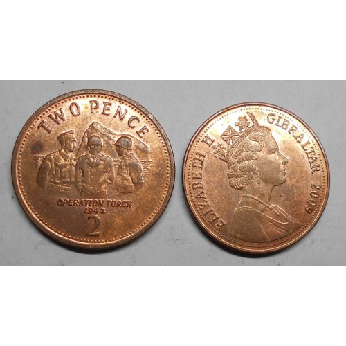 GIBRALTAR 2 Pence 2009...