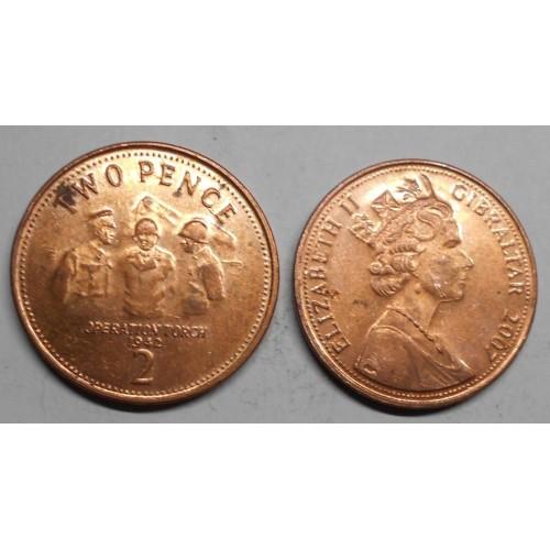 GIBRALTAR 2 Pence 2007...