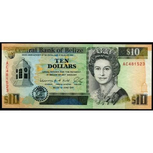 BELIZE 10 Dollars 1991