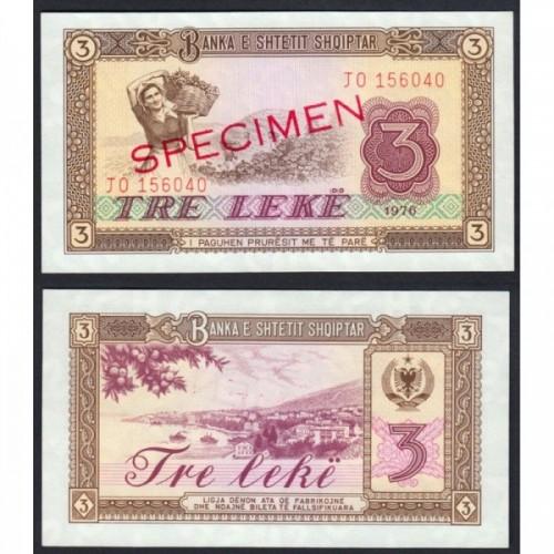 ALBANIA 3 Leke 1976 SPECIMEN