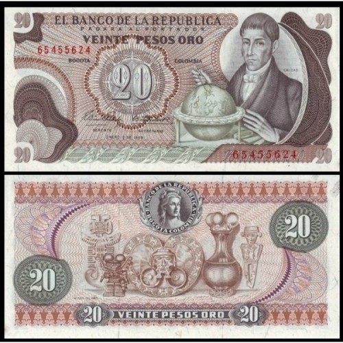 COLOMBIA 20 Pesos Oro 1969