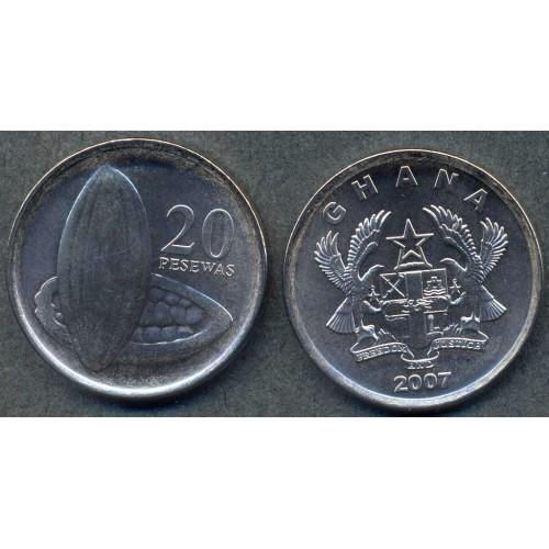 GHANA 20 Pesewas 2007 UNC/BU