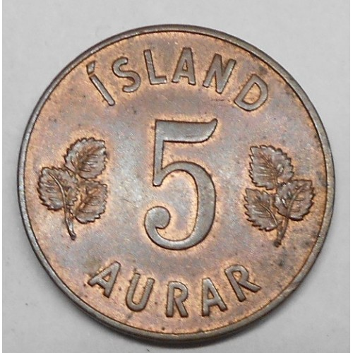ICELAND 5 Aurar 1958