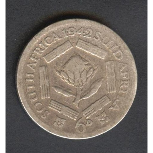 SOUTH AFRICA 6 Pence 1942 AG