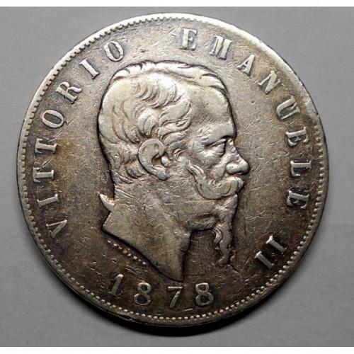 5 LIRE 1878 Variante con...