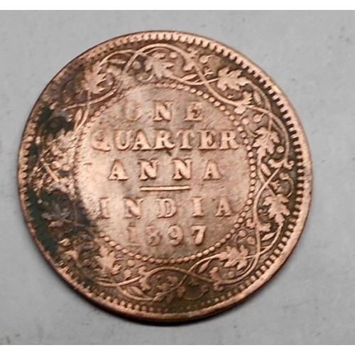 BRITISH INDIA 1/4 Anna 1897...
