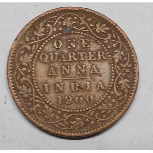BRITISH INDIA 1/4 Anna 1900...