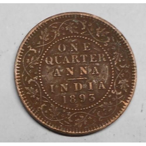 BRITISH INDIA 1/4 Anna 1893...