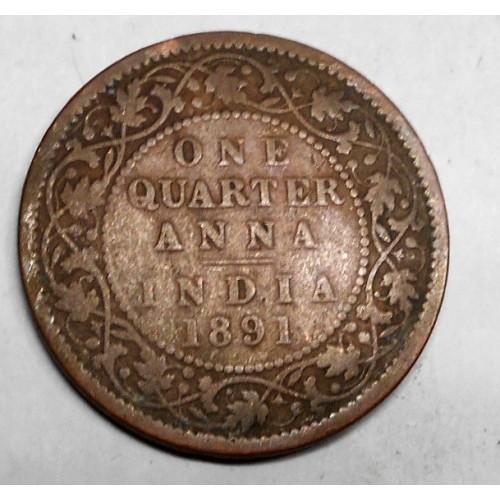 BRITISH INDIA 1/4 Anna 1891...