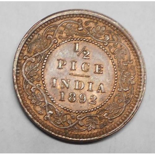 BRITISH INDIA 1/2 Pice 1892