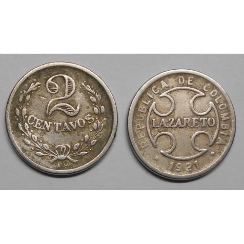 COLOMBIA 2 Centavos 1921 RH...