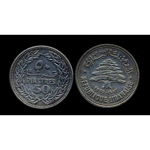 LEBANON 50 Piastres 1952 AG