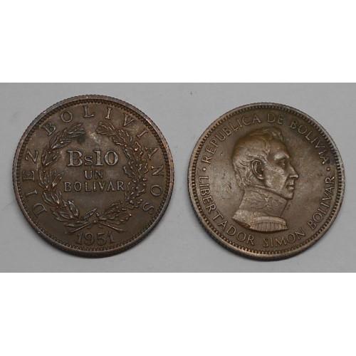 BOLIVIA 10 Bolivianos 1951