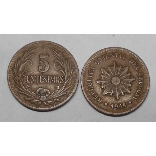URUGUAY 5 Centesimos 1944