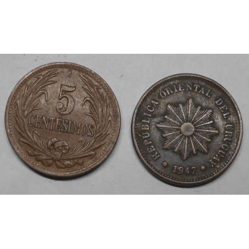 URUGUAY 5 Centesimos 1947