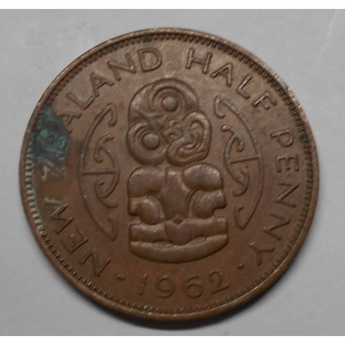 NEW ZEALAND 1/2 Penny 1962