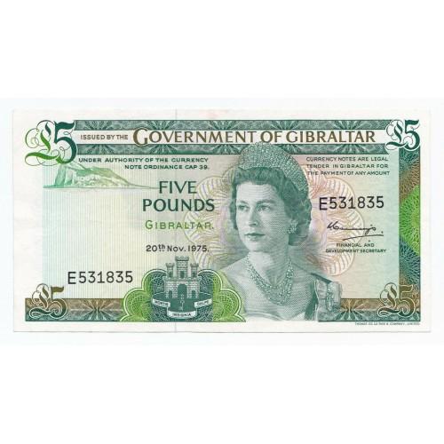 GIBRALTAR 5 Pounds 1975