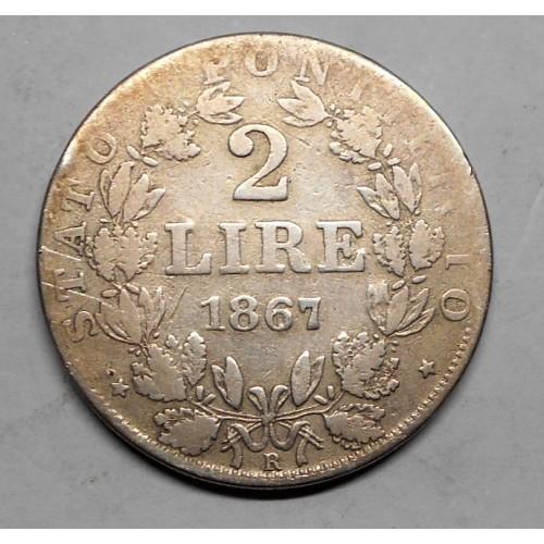 PIO IX 2 LIRE 1867 A.XXII